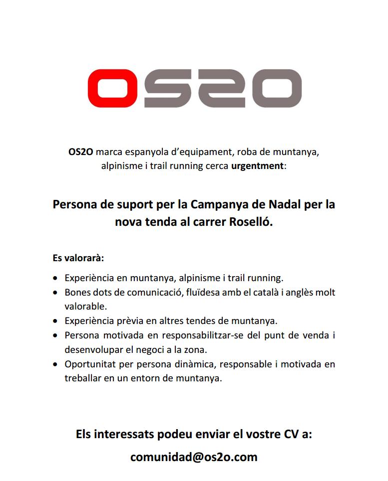 OS2O Barcelona, tienda de montaña en Barcelona, busca personal para su nueva tienda